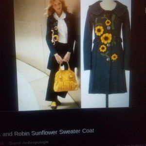 *rare* Anthropologie Sunflower sweater coat